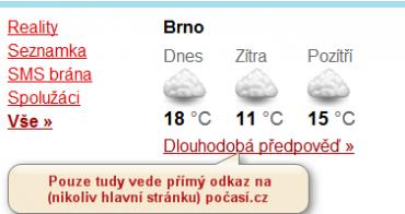 Vstup na počasí ze Seznamu.cz