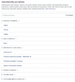 Co neví, to nepoví - inzertní preference Facebooku pro nepoužívaný profil. Takový co nepoužívá ani Facebook ani v zásadě nikde nechodí po webu. Facebook nic moc neví a nesmysly jsou to ještě větší.