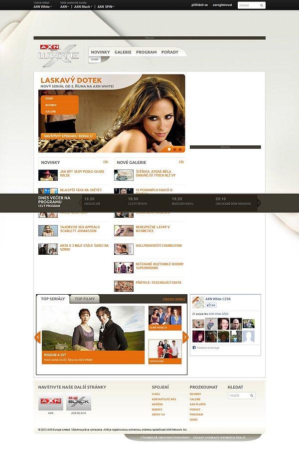 Náhled webových stránek nové stanice AXN White