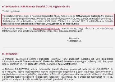Oznámení o zániku pojistných smluv k 28. lednu 2013