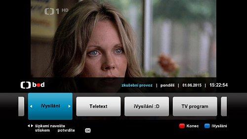 Část hybridního menu České televize