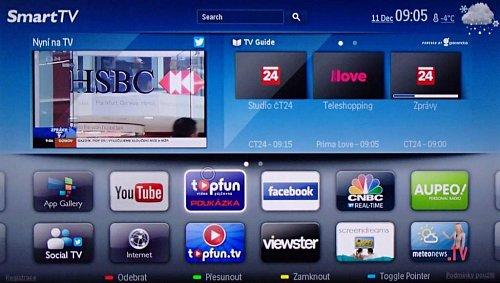Smart TV nabízí vstup na internet jak otevřený s možností zadat webovou adresu, tak widgetový. Zároveň ukazuje aktuální program a v pravém rohu nahoře rotují další kanály a aplikace. Použít můžete i kurzor v podobě kroužku a vedle české on-line videopůjčovny si ve widgetu iMeteonews můžete vybrat i z několika českých měst. Přidat jde dokonce i webová kamera.