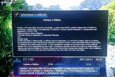 Informace o pořadu vyvoláte tlačítkem Info. Jsou ale – stejně jako EPG samotné – nelokalizované do češtiny.