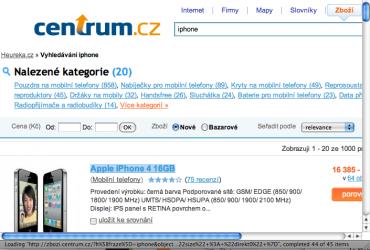 Centrum odkazuje na Heureka.cz: všimněte si odkazu ve stavovém řádku. Link na zboží směřuje na Heureka.cz