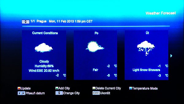 Předpověď´ počasí kdekoliv ve světě se zobrazí po zadání místa, v tomto případě Prahy.