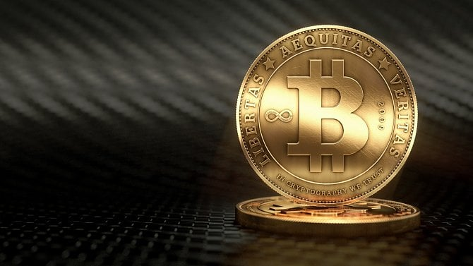 3D zobrazení virtuální měny Bitcoin.