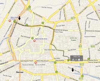 BikeInCity: cyklotrasa na velké mapě