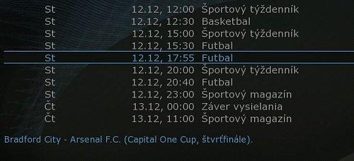Slovak Sport.TV začala vysílat řádného elektronického programového průvodce.