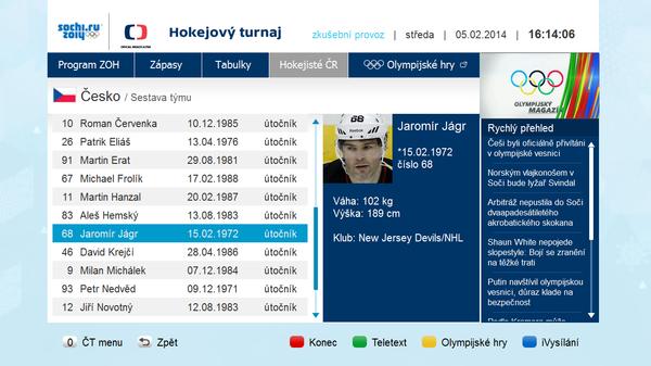 Ukázka z vnořené aplikace Hokej, která je součástí balíku Olympijské hry.