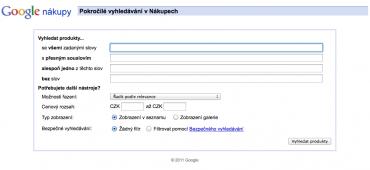 Rozšířené vyhledávání na Google Nákup