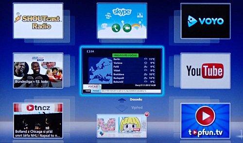 Klasická obrazovka přístupu na internet přes widgety tak, jak ji známe u Panasoniku už léta. Kdesi na jedné z dalších obrazovek narazíte i na internet otevřený se zadáním libovolné webové adresy.