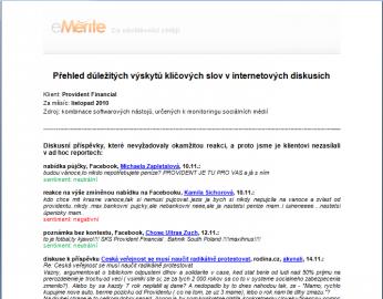 eMerite a vyhodnocení výskytu klíčových slov v offline reportu pro zákazníka.