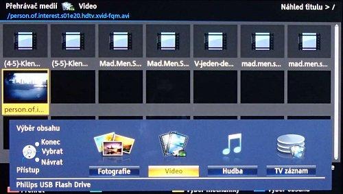 Televizory Panasonic nenabízejí u multimédií typicky adresářový náhled. Jen vypíší seznam všech adresářů ve kterých najdou soubory, které zvládnou přehrát (nebo si to alespoň myslí). Kdykoli můžete změnit nejen médium, ale i druh přehrávaných multimédií. Jak vidíte, je mezi nimi i volba pro nahrané pořady.