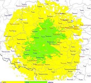 Orientační mapa pokrytí regionálního multiplexu L2 z Polska. Mapu lze po rozkliknutí zvětřit.