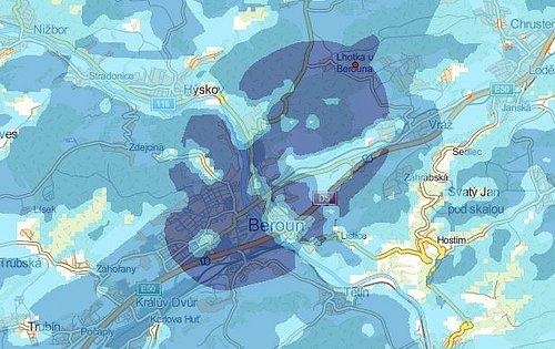 Předpokládané pokrytí signálem multiplexu 4 z lokality Lhotka u Berouna dle mapy Českého telekomunikačního úřadu (ČTÚ)