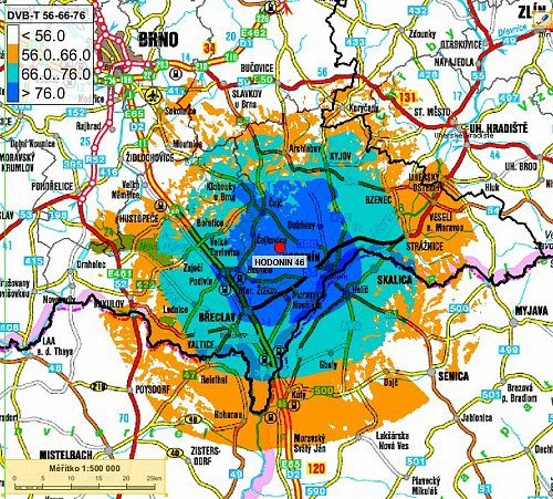 Mapa pokrytí multiplexu 4 šířeného v Hodoníně.