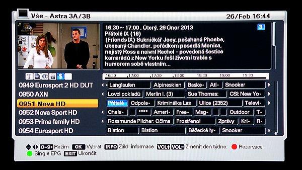 EPG – elektronický programový průvodce zobrazuje programy na sedm dnů dopředu a pracuje s českou diakritikou. Je zobrazován ve dvou režimech (přepíná se zeleným tlačítkem). Jako singl s časovou osou jednotlivých programů s detailními informacemi zvoleného programu,...