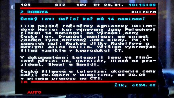 Podpora teletextu přes VBI. Teletext se zobrazuje ve zmenšeném okně na popředí programu se správnou českou diakritikou.