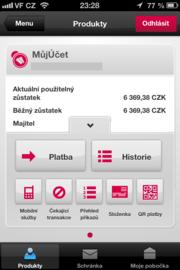 QR platba v aplikaci Mobilní banka 2 od Komerční banky. Platba vyúčtováni od Vodafone.