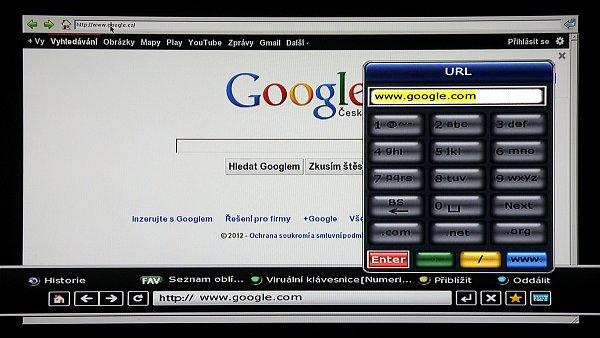 Internetový prohlížeč nám umožní přístup na Internet. Adresy zadáváme virtuální klávesnicí.