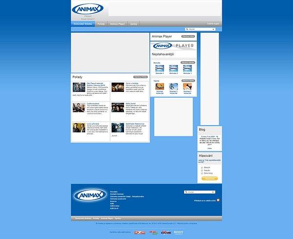 Webové stránky Animaxu, jak zůstaly archivované službou Web.archive.org
