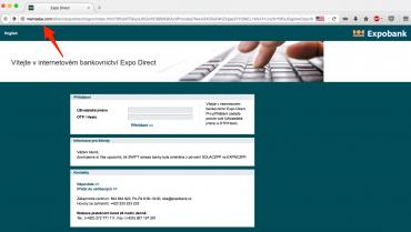 Podvodný web lákající údaje klientů Expobank (6. července 2015)