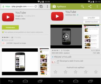 Google Play: srovnání webové verze a mobilní aplikace