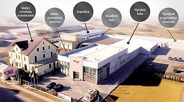 Sídlo společnosti Elko EP z perspektivy.