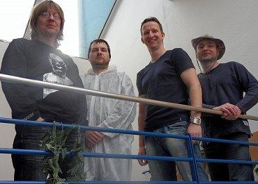 Zakladatelé Madfinger Games: zleva Marek Rabas, Michal Babjár, Pavel Čížek aTomáš Šlápota