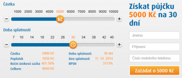 11.září 2014. Kalkulace půjčky od Ferratum Bank na částku 10 000 Kč a splatnost 45 dnů.