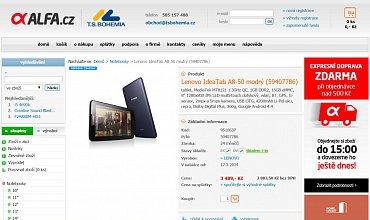 Alfa.cz je zajímavým příkladem e-shopu, který dlouhé roky setrvává sdrobným a nevýrazným tlačítkem pro umístění zboží do nákupního košíku.