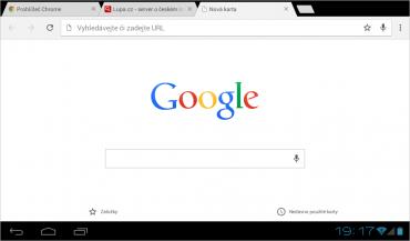 Google Chrome na tabletu se systémem Android 4.0.
