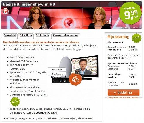 Základní balík nabízí Canal Digitaal za zvýhodněnou cenu 9.95 euro, a to na dobu prvních třech měsíců. Jeho klasická cena je 14.95 euro.