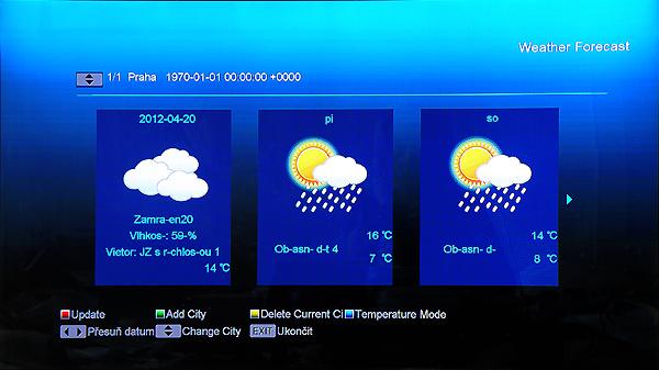 Při funkci Weather Forecast Functions si virtuální klávesnicí zvolíme požadované město. Bohužel zde není zobrazována správně česká diakritika.