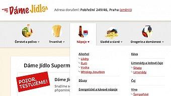 DameJidlo.cz Supermarket rozveze nákup do dvou hodin.