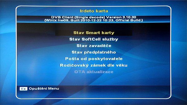 V menu Irdeto je umístěna i aktualizace software přijímače. Pokud je k dispozici nový software, bude řádek OTA aktivní.
