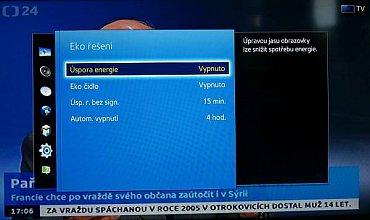 Volbu Eko řešení najdete v menu Systém. Další nastavení můžete udělat typicky v menu Obraz.
