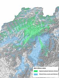 Předpokládané mapa pokrytí signálem multiplexu 4 z vysílače Žilina - Krížava. Obrázek neobsahuje přeshraniční překryv. Mapu lze zvětšit.