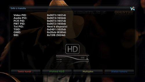 Parametry hudebního kanálu Country no. 1 v multiplexu 4