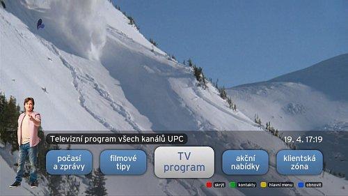 Položky, ze kterých lze vybírat v rámci menu HbbTV.