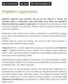 Příklad nabídky pojištění nájmu na webu BezRealitky.cz