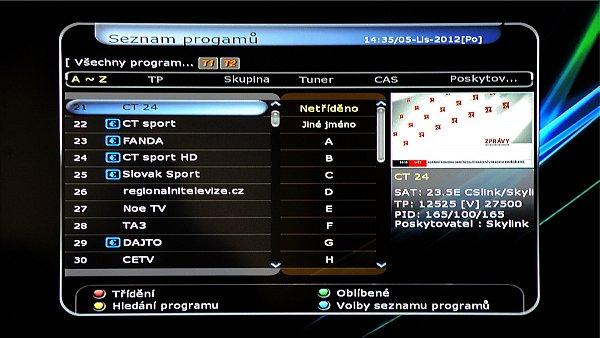 Zobrazení seznamu kanálů při stisknutí tlačítka OK
