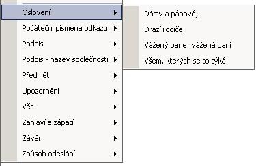 Vložit automatický text