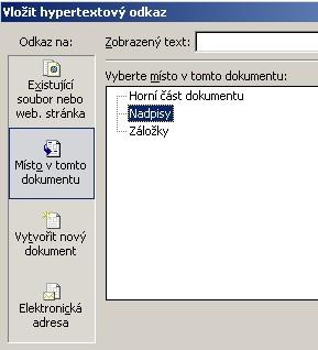 Vložit hypertextový odkaz