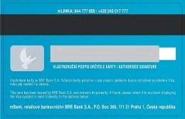 Platební karta Visa u mBank, zadní strana