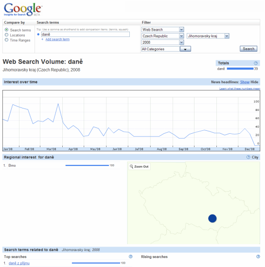 Google Labs - search daně - náhled