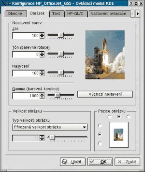 KDE správce tisku - nastavení barev