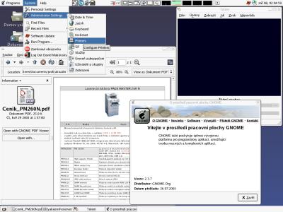 Gnome 2.3.7 (Gnome 2.4 RC1 Kubulai), Totem a Nautilus s pdf komponentou
