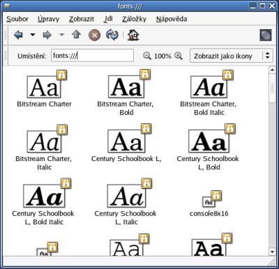 Fonty instalované v systému