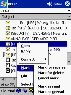 nPOP - označíš a při příštím připojení se akce provede